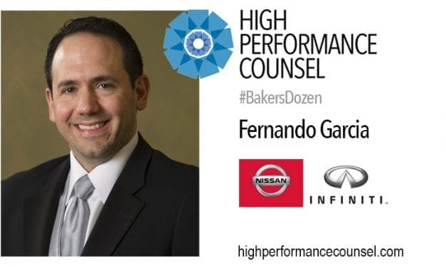 On #BakersDozen: Fernando Garcia, General Counsel and Corporate Secretary for Nissan and Infiniti in Canada