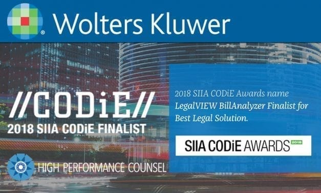 On HPC #BULLETPOINTS: Wolters Kluwer's ELM Solutions Named CODiE Award Finalist for Best Legal Solution with LegalVIEW® BillAnalyzer